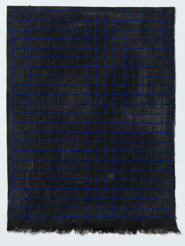 Untitled (Blue Grid Embroidery) 2020